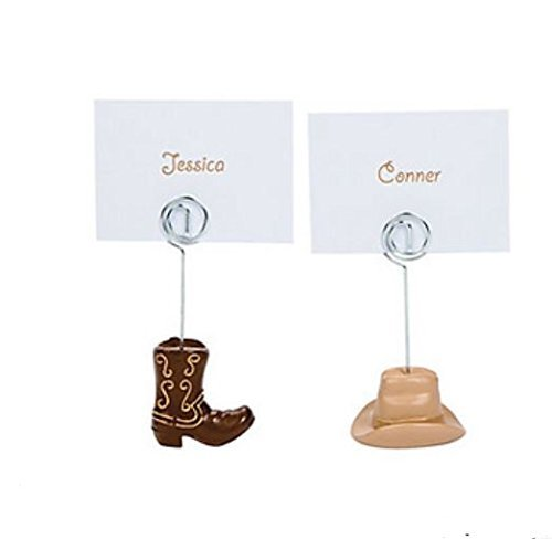 (12 Western Cowboy Boots And Hats Wedding Place Card Holders Resin)
