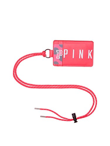 Victoria's Secret Pink Lanyard ID & Badge Holder Wallet Faux Leather Neon Red