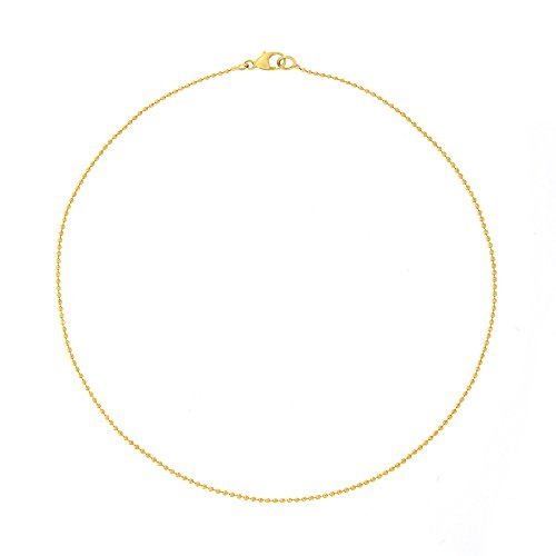 Automic Gold Solid 14k Yellow Gold Bead Choker Necklace, -