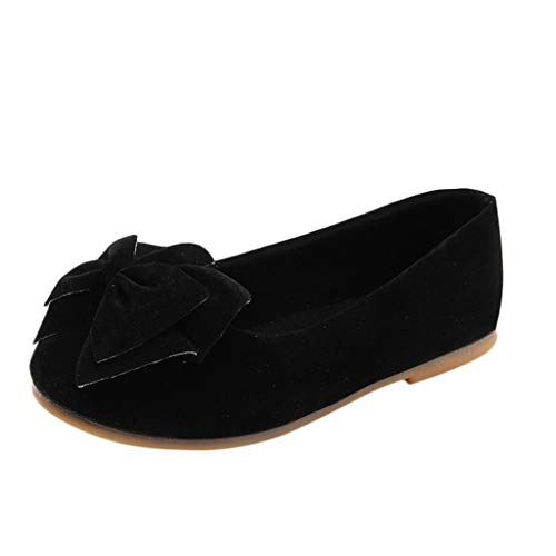 Baby Girls Dress Shoes Slip on Ballerina Flats Bows Shallow Mouth peas Shoes Dance Shoes (Little Kid/Big Kid) Black