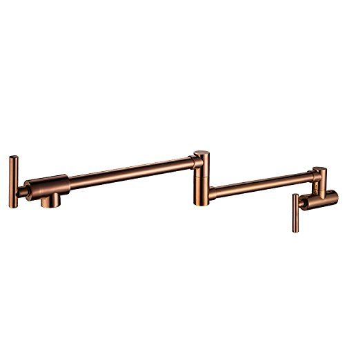 Wall Mounted Brass single cold Water Pot Filler kitchen faucet tap Double Joint Spout Rose gold Wall Mounted Kitchen tap Rose Double Sink
