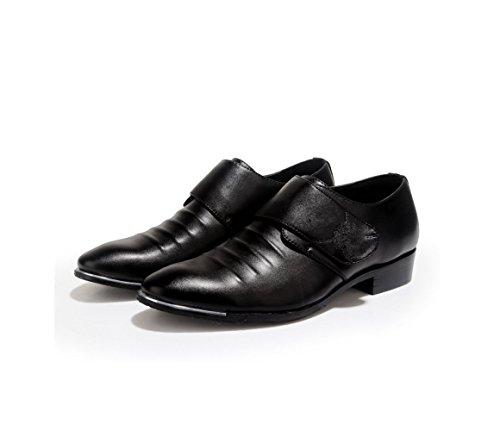 Cuir Bande Sports Chaussures Arrondi Couleur Printemps Pointu Hommes zmlsc Automne Doux Casual Été Hiver Business Black qT86dn