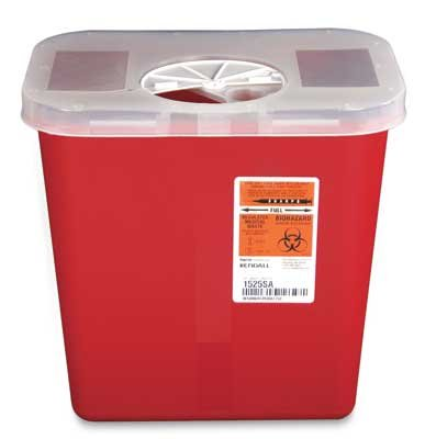 10-1/2'' x 7-1/4'' x 10'' Red Portable Sharps Container with Rotor Lid (2 Gallon) (1 Container) - AB-135-74