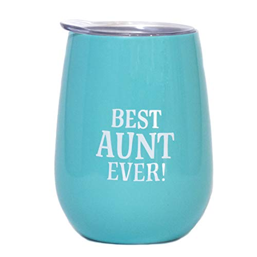 Best Aunt Ever Wine Tumbler - 10 oz Stainless Steel Stemless Wine Tumbler with Lid | Aunt Gift Idea for Birthday, Christmas, Wedding, Aunt To Be, New Aunt