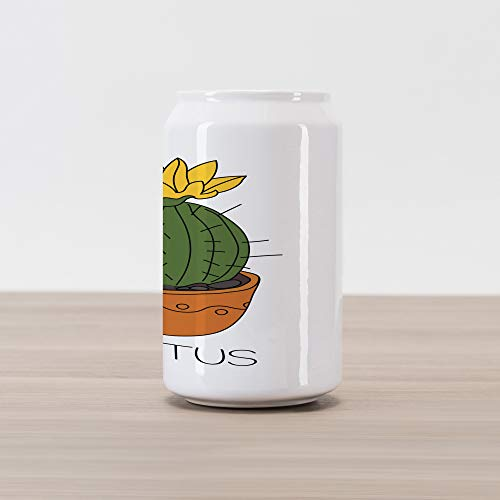 Ambesonne Cactus Cola Can Shape Piggy Bank, Barrel Plant with Yellow Flower in a Pot Blooming Tropical Foliage Cartoon, Ceramic Cola Shaped Coin Box Money Bank for Cash Saving, Orange ()
