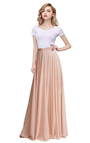 Honey Qiao Women's Chiffon Pleated Maxi Skirt with Belt Bridesmaid Dresses High Waist Long ()