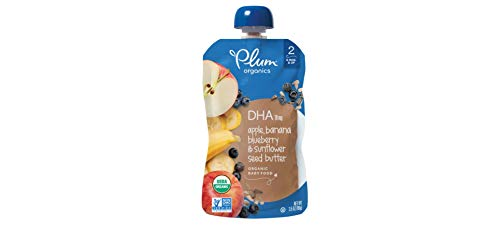 Plum Organics Stage 2 Grow Well DHA, Organic Baby Food, Apple, Banana, Blueberry and Sunflower Seed Butter, 3.5 ounce pouches (Pack of 12) (Packaging May Vary) ()