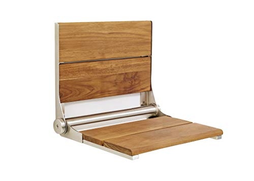 Steel Seats Shower Stainless (Contour Folding Shower Seat in Teakwood or Walnut (26 x 16, Teakwood with Polished Frame))