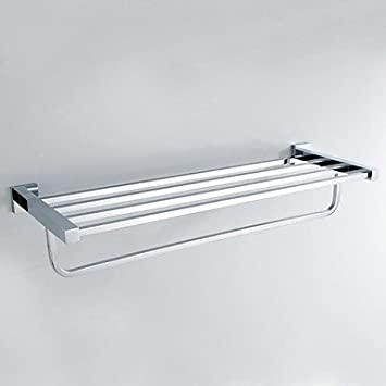 Lana Solid Brass Chrome Finished Square Towel Rack Bathroom Accessories  Towel Bars