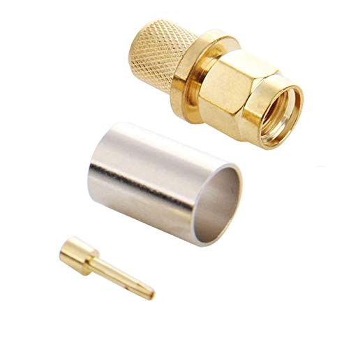 JINYANG Excellent 10 PCS Gold Plated RP-SMA Male Plug Pin Crimp RF Connector Adapter