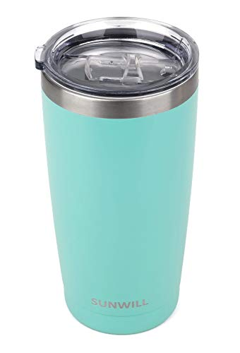 SUNWILL 20oz Tumbler with Lid, Stainless Steel Vacuum Insulated Double Wall Travel Tumbler, Durable Insulated Coffee Mug, Powder Coated Teal, Thermal Cup with Splash Proof Sliding Lid