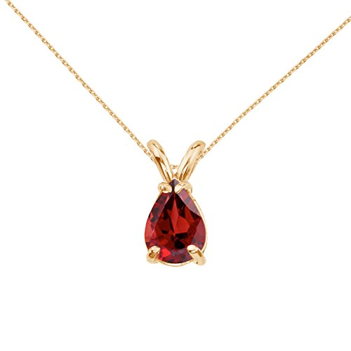 Jewels By Lux 14k Yellow Gold Genuine Birthstone Pear Shaped Garnet Pendant (0.85 (Pear Shaped Garnet Pendant)