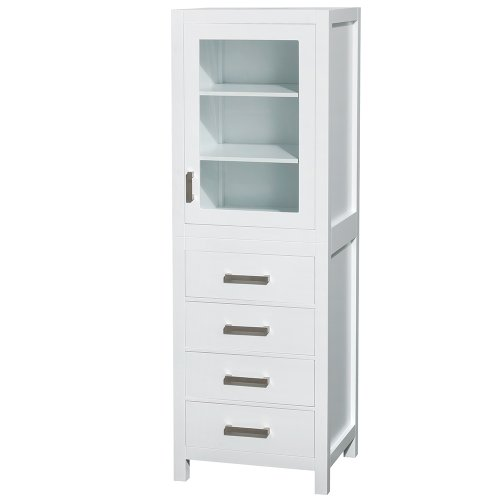 Wyndham Collection Sheffield 24 inch Linen Tower in White with Shelved Cabinet Storage and 4 Drawers by Wyndham Collection