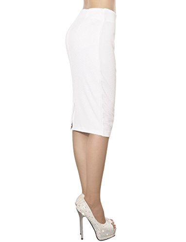 Ib Elastisches Blanc Femme Jupe Mid Droite Figurbetonten Taille ip Volltonfarbe fpfnrZ7