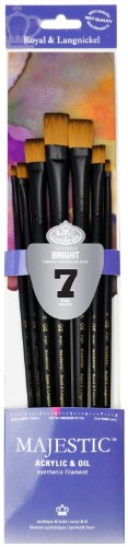Majestic Royal and Langnickel Long Handle Paint Brush Set, Bright, 7-Piece