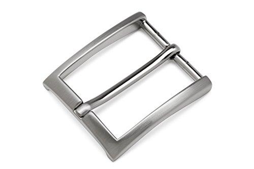 Gürtelschnalle (Buckle) für Wechselgürtel. Silber-satinierte Schließe mit schwarzem Stoffbeutel zum Aufbewahren. Für Damen & Herren