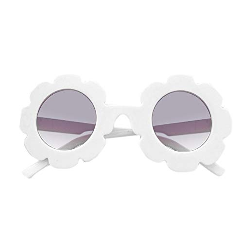 Toddler Kids Girl Flower Round Anti-UV Sunglasses, Colorful Eyewear Suit for Party Photography Outdoor Beach (White)