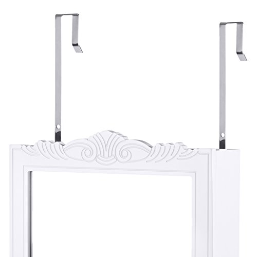 LANGRIA Full-Length Lockable Wall-Mounted Over-the-Door Hanging Jewelry Cabinet Armoire and Accessories Storage Organizer with 2 Drawers Carved Design and 3 Adjustable Heights (White) by LANGRIA (Image #7)