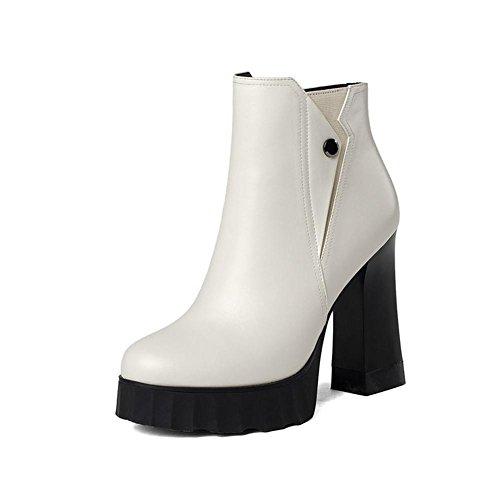 Stiefel hohen runden Lederstiefel mit Schuhe und dick Winter Frau Absätzen mit Herbst wasserdichte q8F7a4