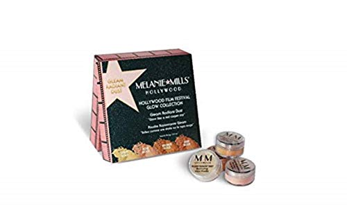 Melanie Mills Hollywood Film Festival Glow Collection Bronzing Powder - Gleam Radiant Dust Set, Light Gold, Rose Gold, Bronze Gold, and Deep Gold Mini 1.5g ()