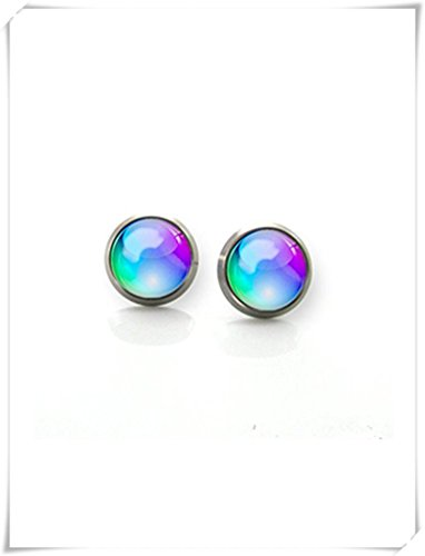 Cufflinks Titanium Green - Hobbs Titanium Earrings Blue, green and Turquoise glass bubble post | Hypoallergenic Earring