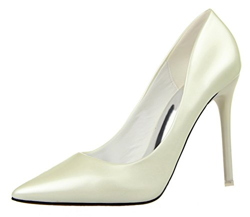 Video Modelle In Costume (T&Mates Womens Sexy Pointy Toe Stiletto Pumps Slip-on Dress High Heels Basic Shoes for Party Wedding (6 B(M) US,White))