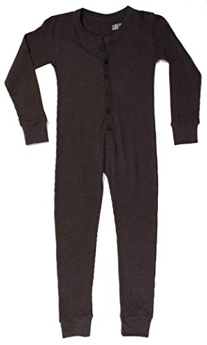 At The Buzzer Thermal Union Suits for Boys 7373-CHR-7 Charcoal