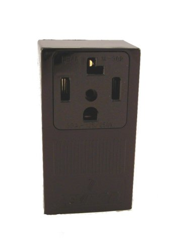 Price comparison product image Leviton 55054 30 Amp, 125/250 Volt, NEMA 14-30R, 3P, 4W, Surface Mounting Receptacle, Straight Blade, Industrial Grade, Grounding, Side Wired, Steel Strap, Black