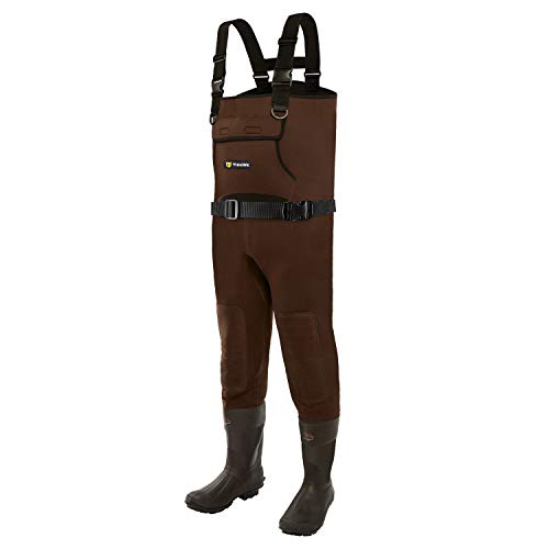TideWe Neoprene Waders, Cleated Bootfoot Men Chest Waders, Waterproof Durable Fishing & Hunting Waders Neoprene Brown Size 10
