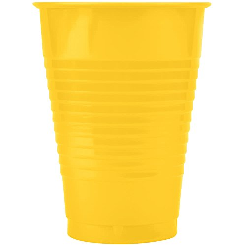 28102181 16 oz. School Bus Yellow Plastic Cup - 20/Pack By TableTop King