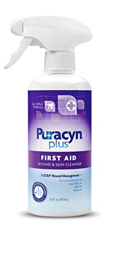 Puracyn Plus Wound and Skin Cleanser - Wound Care Spray for cuts, scrapes, minor sores, minor burns, and other skin irritations - 16-ounce