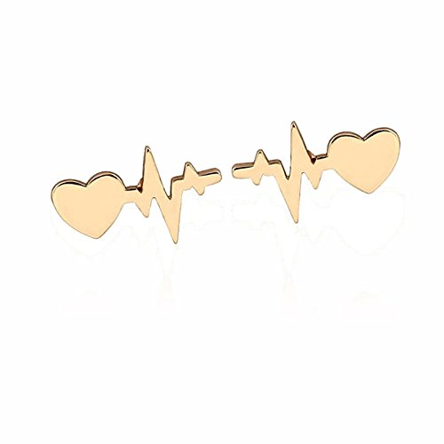 JUESJ Fashion ECG Heartbeat Wave Current Lightning Heart Stud Earring for Doctor Nurse Thanks for The Gifts ()