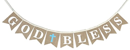 God Bless Laced Burlap Banner for Boys First Holy Communion, Christening, Baptism Banner, Catholic Decorations - Reusable 8X6 Banner with White letters and Blue Cross with 6 Balloons - Boy Letter Banner