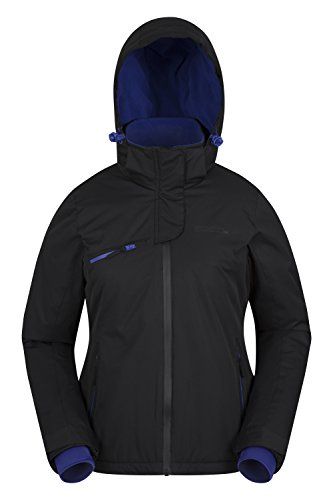 Mountain Warehouse Freestyle Womens Ski Jacket - Waterproof, Breathable, Warm & Cozy Fabric, Taped Seams with Detachable Ski Skirt & Two Front Pockets Black ()