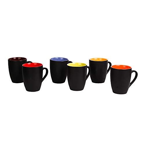 Anwaliya Fauna Series Ceramic Coffee Mugs – 6 Pieces, Matt Black, 250 ML