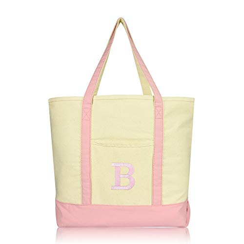DALIX Initial Tote Bag Personalized Monogram Pink Zippered Top Bold Letter - B