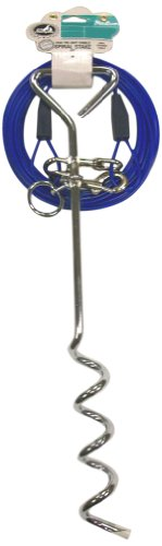 Pet Champion 18-Inch Spiral Tie Out Stake and 25-Feet Cable