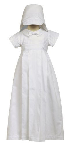 Swea Pea & Lilli 100% Cotton White Weaved Romper with Detachable Gown - Size M (6-12 Month) (Bottom Gown)
