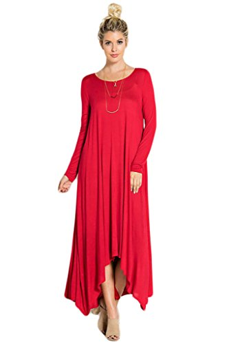 Great Deals 4 U Now Women's Long Loose Casual Asymmetrical Oversize Handkerchief Hem Jersey Maxi Dress (Made In The USA) - Red - Large
