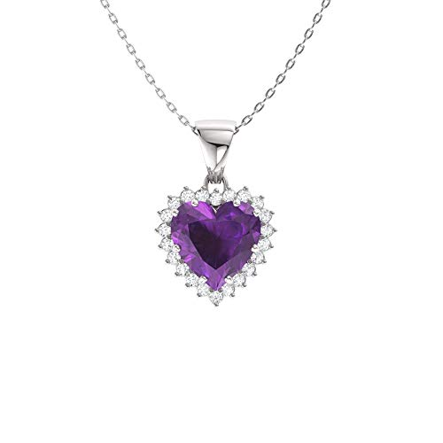 Diamondere Natural and Certified Heart Cut Amethyst and Diamond Halo Necklace in 14k White Gold   1.14 Carat Pendant with Chain ()