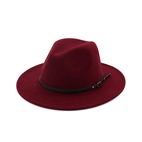 DJB Women's Classic Wide Brim Wool Fedora Panama Hat with Belt Buckle Wine ()
