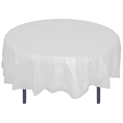 84'' Round White Plastic Tablecloth 12 Pieces Party Decor by Unique