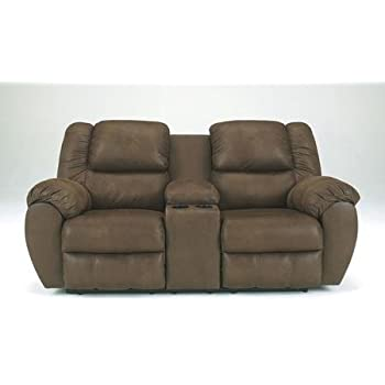 leather reclining loveseat w console quarterback double including split back cushion plush padded arms stitched detailing power lov