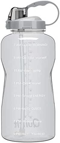 BuildLife Motivational Gallon Water Bottle BPA Free Wide Mouth with Straw & Time Marker to Ensure You Drink Enough Water,Reusable Gym Sports Outdoor Large(128OZ/64OZ) Capacity