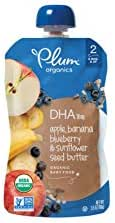 Plum Organics Stage 2 Grow Well DHA, Organic Baby Food, Apple, Banana, Blueberry and Sunflower Seed Butter, 3.5 Ounce pouches (Pack of 12) (Packaging May Vary)
