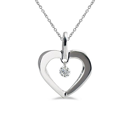 0.08 Carat (ctw) 14k White Gold Round Diamond Women's Moving Open Heart Pendant with 18