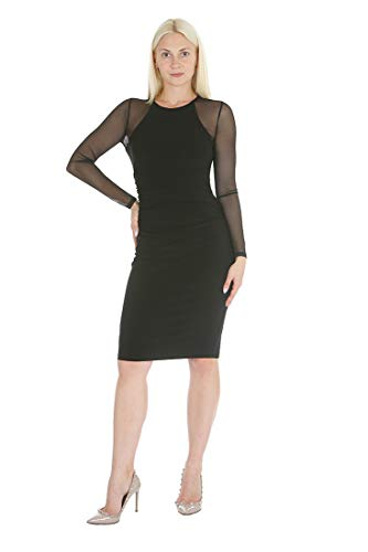 bebe Women's Long Sleeve Bodycon Sheath Dress with Shirring Details & Power Mesh Sleeves Black 4 (Bebe Knit Dress)