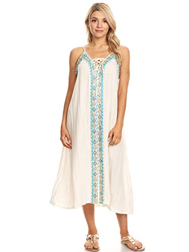 tan Boho Embroidered Long Maxi Swimsuit Cover up Beach Dress, White, Large/X-Large ()