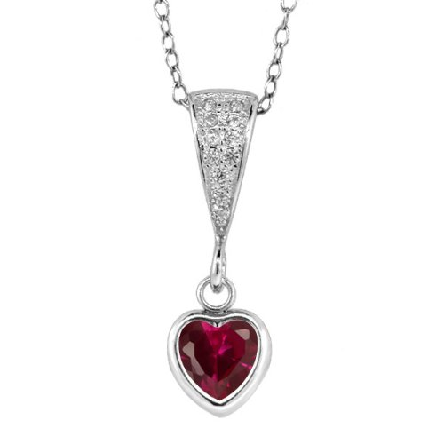 1.09 Ct Heart (1.09 Ct Heart Shape Red Created Ruby With 925 Sterling Silver 18