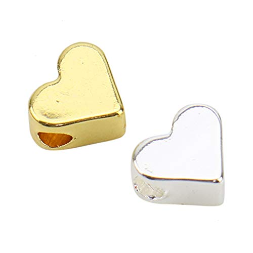 (JETEHO 40 Pieces 18K Gold Plated Heart Charms 2 Hole Heart Beads Jewelry Findings Stamping Blanks)